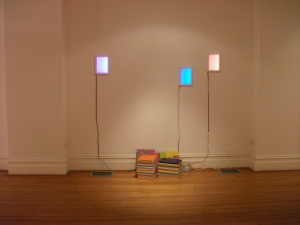 Untitled, 2010-2011, light boxes and canvas stacks