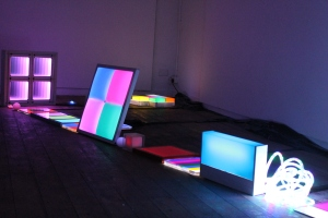 Light in space, northeast corner, 2012, LED mixed media